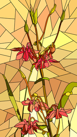 Vector vertical mosaic with large cells of columbine flowers on yellow. Vector