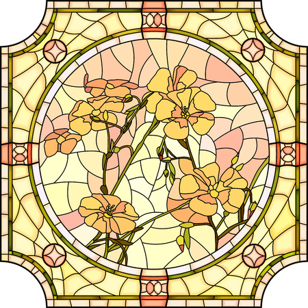 glass window: Vector mosaic with large cells of brightly orange flax with buds in round stained-glass window frame. Illustration