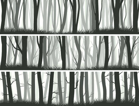 Horizontal abstract banners misty forest with trunks of trees.