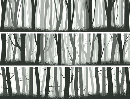 트렁크스: 가로 추상 배너 나무의 줄기와 안개 낀 숲.