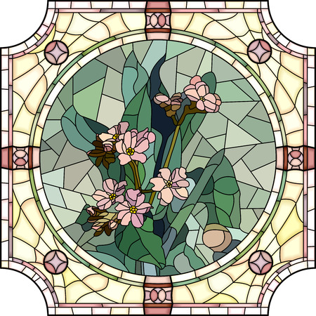 Vector mosaic with large cells of flowers forget-me-not with buds in round stained-glass window frame. Vector
