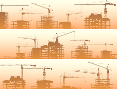 Vector horizontal banner of construction site with cranes and skyscraper under construction in orange smog. Vector