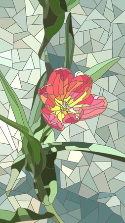 Vector vertical mosaic with large cells of red tulip flowers on green.