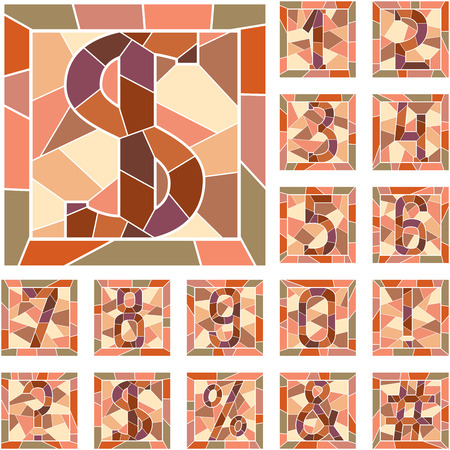 Set of mosaic numeric figures in square frame.