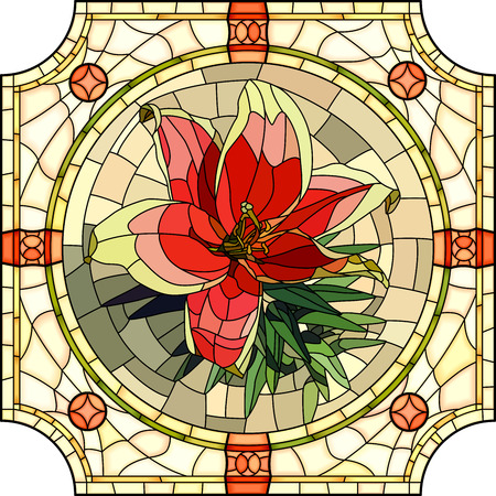 Vector mosaic with large cells of brightly red lily in round stained-glass window frame. Vector