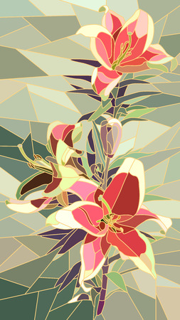 Vector vertical mosaic with large cells of pink lily on green.