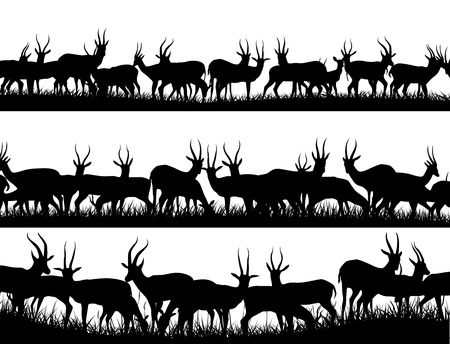 Horizontal banner silhouettes of herd of antelope grazing in meadow. Vector