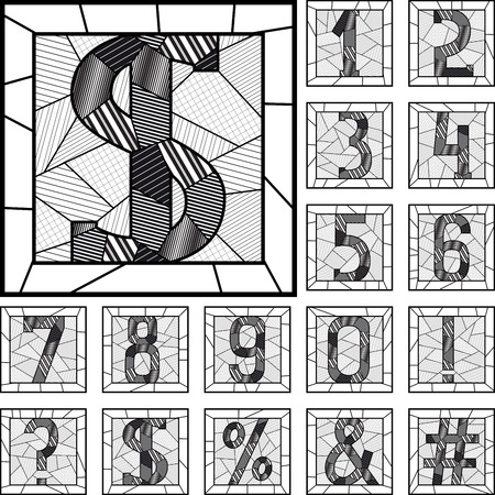 numbering: Set of mosaic numeric figures patterned lines in square frame. Illustration