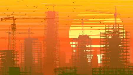 construction crane: Horizontal illustration of construction site with cranes and skyscrapers at sunset in orange tone. Illustration