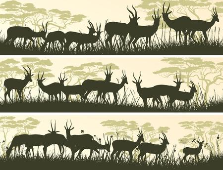 Set horizontal banners of herd antelope in African savanna with trees. Vector