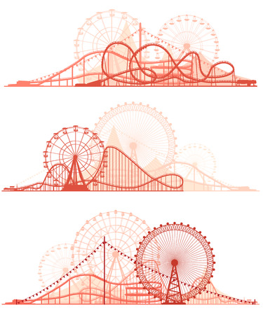 park: Set vector horizontal lines of red silhouettes roller-coaster and Ferris Wheel from amusement park.