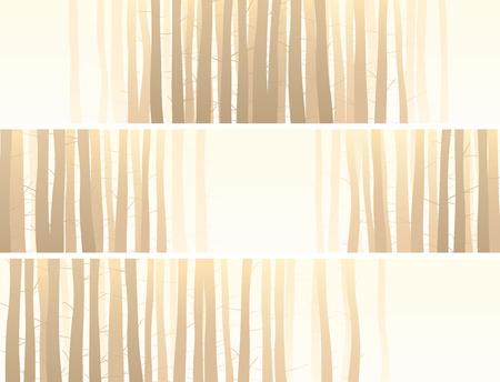 트렁크스: 옅은 노란색에 많은 나무 줄기와 추상 가로 배너 설정합니다.