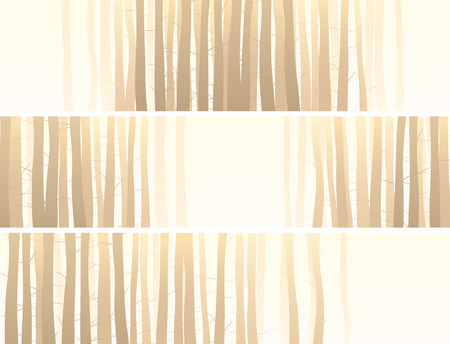 Set of vector abstract horizontal banner with many tree trunks in pale yellow. Ilustrace