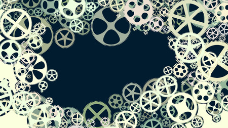 dag: Vector horizontal background illustration of gear wheels with place for text.