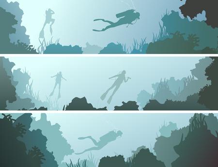 cueva: Establecer banners horizontales de buzos bajo el agua entre coral en la cueva. Vectores