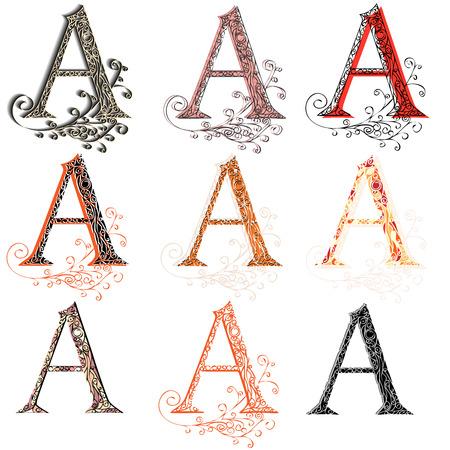 roman alphabet: Set of variations fishnet (lace) capital letter A.