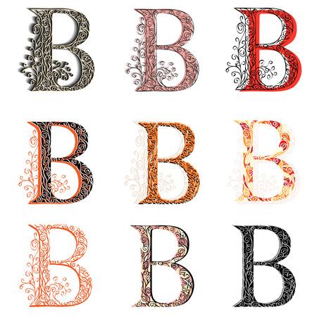 roman alphabet: Set of variations fishnet (lace) capital letter B.