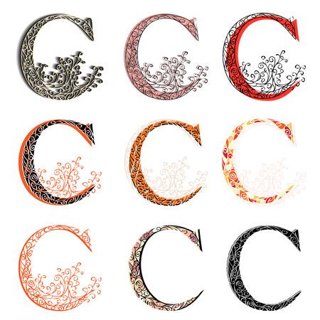 fishnet: Set of variations fishnet (lace) capital letter C. Illustration