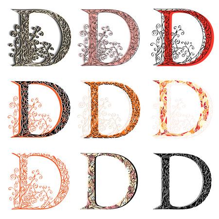 roman alphabet: Set of variations fishnet (lace) capital letter D.