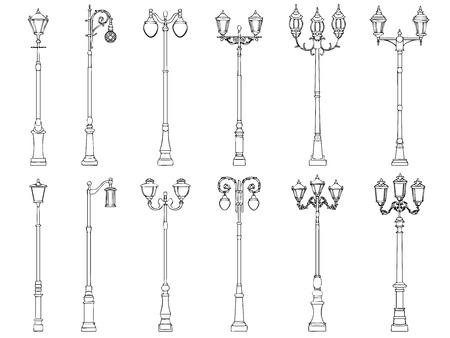 lampposts: Set vector illustrations of vintage artistic decorative lamppost (drawn in ink). Illustration