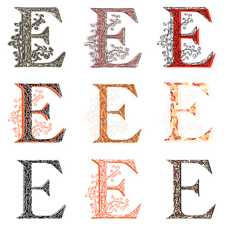 e alphabet: Set of variations fishnet (lace) capital letter E. Illustration
