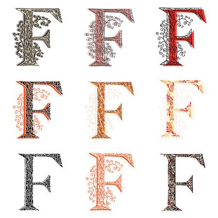fishnet: Set of variations fishnet (lace) capital letter F. Illustration