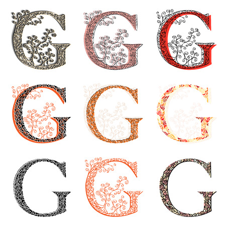 roman alphabet: Set of variations fishnet (lace) capital letter G.