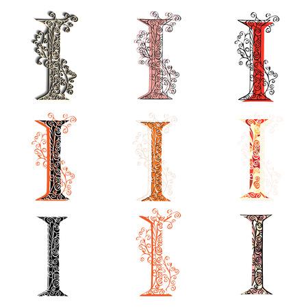 fishnet: Set of variations fishnet (lace) capital letter I.