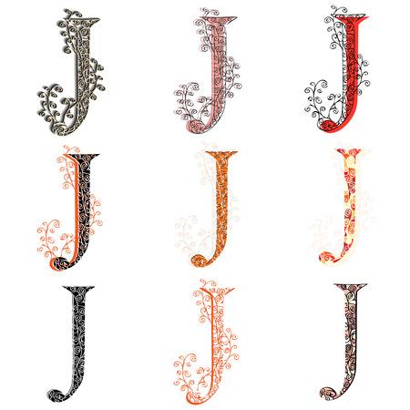 fishnet: Set of variations fishnet (lace) capital letter J.
