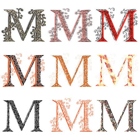 roman alphabet: Set of variations fishnet (lace) capital letter M. Illustration