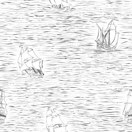 17th: Seamless vector background of black and white of  sailing ships of the 17th century painted lines (drawn in ink). Illustration