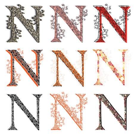 fishnet: Set of variations fishnet (lace) capital letter N.