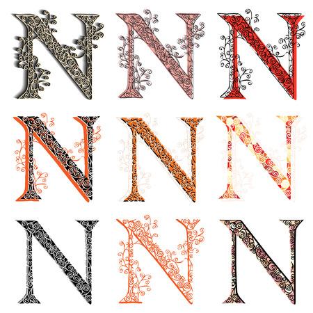 roman alphabet: Set of variations fishnet (lace) capital letter N.