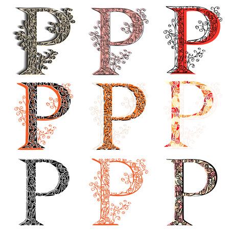 roman alphabet: Set of variations fishnet (lace) capital letter P.