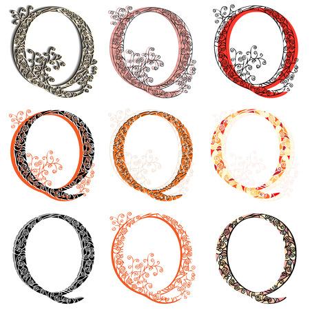 fishnet: Set of variations fishnet (lace) capital letter Q.
