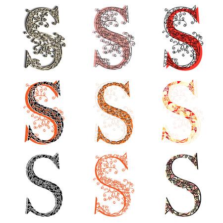 fishnet: Set of variations fishnet (lace) capital letter S.
