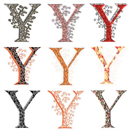 fishnet: Set of variations fishnet (lace) capital letter Y.