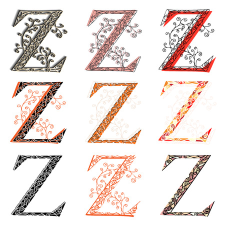 roman alphabet: Set of variations fishnet (lace) capital letter Z.