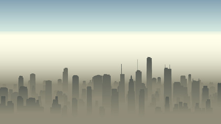 Vector horizontal illustration of big city with skyscrapers in haze.