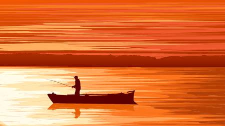 gloaming: Vector panorama illustration of fisherman in boat at sunset (orange tone). Illustration