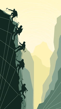 ice climbing: Vertical abstract illustration of alpinists (climbers) with ice ax.