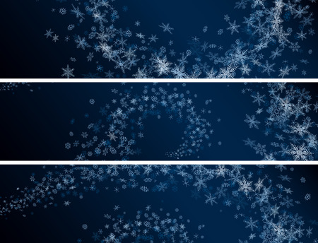 coldness: Set horizontal banners of snowflakes spiral snowstorm in dark blue night. Illustration