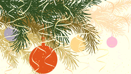 pastel tone: Horizontal abstract illustration of spruce branch with Christmas decorations in pastel tone.