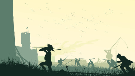 Horizontal vector illustration of swordsmen, spearmen and trebuchet assault of medieval castle.