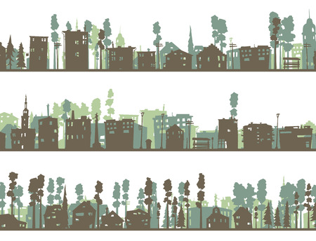 downtown district: Set of horizontal abstract banners silhouettes of childish abstract downtown district in green tone. Illustration