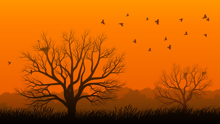 lonely tree: Horizontal illustration of lonely tree without leaves in meadow with nest and birds at sunset.