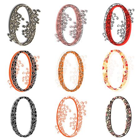 fishnet: Set of variations fishnet (lace) numeric figures 0.