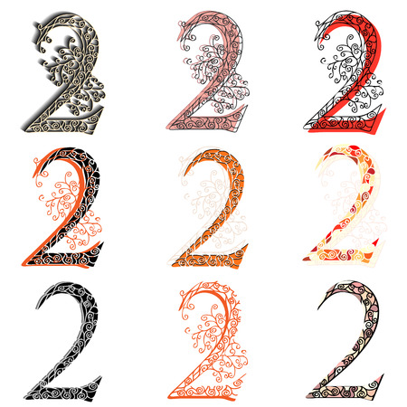 numbering: Set of variations fishnet (lace) numeric figures 2. Illustration