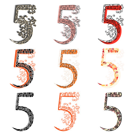 numbering: Set of variations fishnet (lace) numeric figures 5.