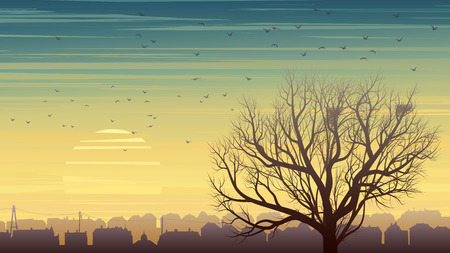 Horizontal illustration of old historic European city and lonely tree without leaves with nest and birds at sunset.